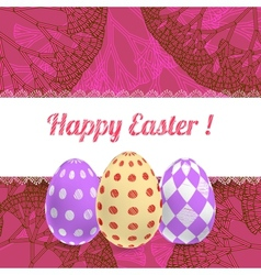 Easter pink background card with ornament eggs vector