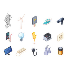 Electricity isometric icons set vector