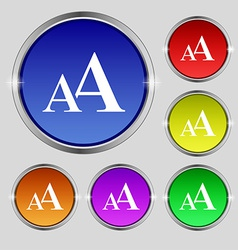 Enlarge font aa icon sign round symbol on bright vector