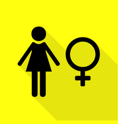 Female sign black icon with flat vector