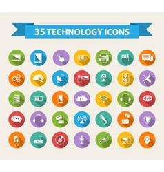 Flat technology icons with long shadowbig set vector