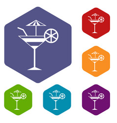 fruit cocktail icons set vector image
