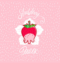 funny strawberry milk vector image vector image