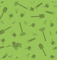 Garden tools silhouettes seamless pattern vector
