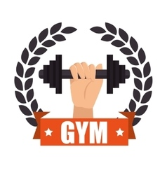 Gym badge sport label design vector