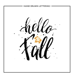 Hello fall text with leaf orange maple and black vector image