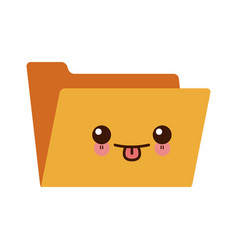 kawaii empty folder archive office supply icon vector image