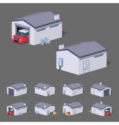 Low poly white garage vector image vector image