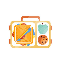 Lunch bag with sandwich chocolate cookie and vector