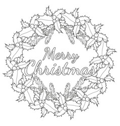 merry christmas black and white poster with holly vector image