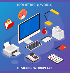 Modern flat 3d isometric concept of workplace with vector