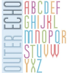 Poster echo light striped font bright condensed vector