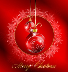 red merry christmas postcard vector image vector image