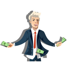 rich businessman character hold money vector image