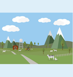 Rural landscape with cows and farm background of vector