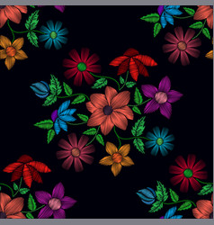 Seamless pattern of different flowers vector