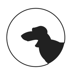 Silhouette of a dog head dachshund vector image