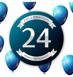 Silver number twenty four years anniversary vector