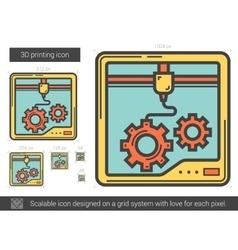 Three D printing line icon vector image
