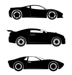 Three sportcar silhouettes vector