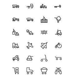 Transport line icons 3 vector