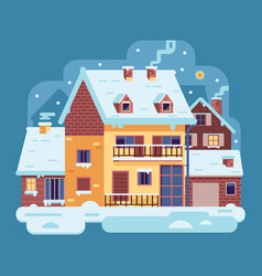 Winter country house with chimney vector
