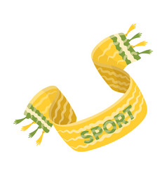 Yellow soccer fan scarf fans single icon in vector