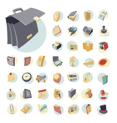Icons vintage set flat business vector