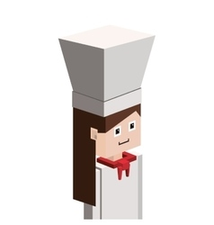 Lego silhouette with half body female chef vector