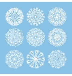 Christmas snowflake decoration set isolated on vector