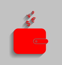wallet sign with currency symbols  red vector image