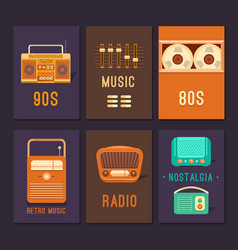 Cards and posters retro music vector