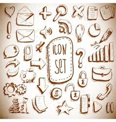 Doodle set of vintage internet icons vector