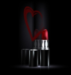 Heart and red lipstick vector