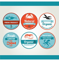 Set of seafood icons crab fish shrimp retro labels vector