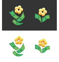 Flowers made of money vector