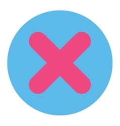 Cancel flat pink and blue colors round button vector