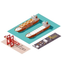 Isometric cargo port elements vector