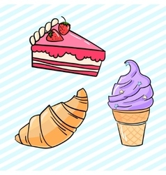 Cupcake croissant cake and icecream vector
