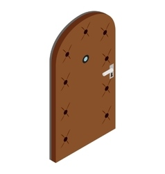 Door covered with leather icon isometric 3d style vector