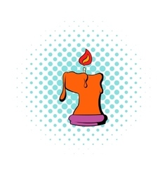 Burning candle icon comics style vector