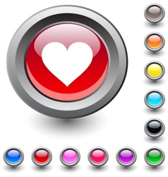 Heart round button vector image