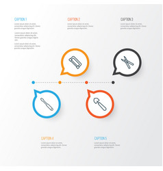apparatus icons set collection of turn screw vector image