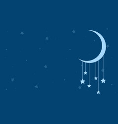 Blue background with star and moon vector