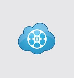 Blue cloud video film icon vector