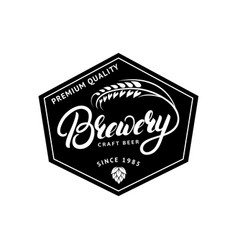 Brewery hand drawn lettering logo label badge vector