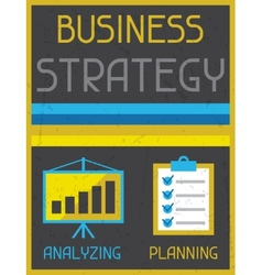 Business strategy retro poster in flat design vector