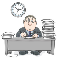clerk with documents vector image