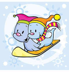 Cute seal on snowboard - funny cartoon vector