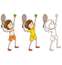 doodle character for tennis player vector image